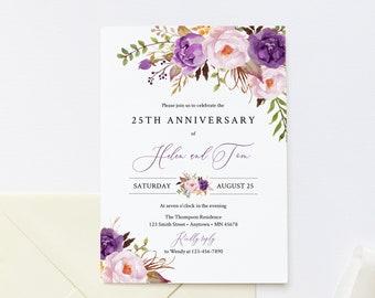 Purple Lilac Floral Editable Anniversary Party Invitation, Lavender Green Anniversary Invite, DIY Template, Instant Download, Templett 530-A