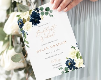 Navy Ivory Rose Gold Editable Bachelorette Party Invitation, Itinerary, Bachelorette Weekend Printable DIY Template Instant Download 523-A