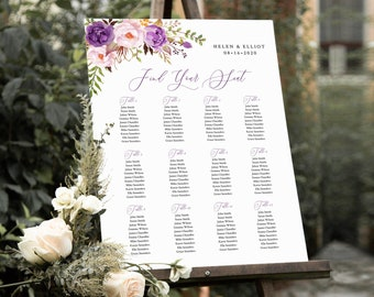 Purple Boho Editable Table Plan, Lavender Lilac Floral Printable Seating Chart, 18 x 24 24 x 36, A1 A2, Template, Instant Download, 530-A