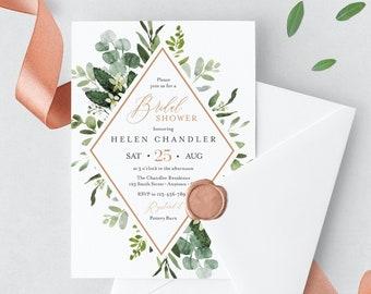 Greenery Rose Gold Editable Bridal Shower Invitation, Botanical Shower Invite DIY Template, Foliage Frame Printable, Instant Download, 528-A