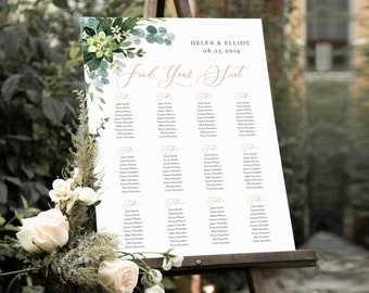 Greenery Rose Gold Editable Table Plan, Eucalyptus Leaves Printable Seating Chart, 18 x 24 24 x 36, A1 A2, Template, Instant Download, 528-A