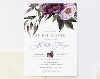 Plum Lilac Floral Editable Bridal Shower Invitation, Purple Lavender Shower Invite DIY Template, Printable, Foliage Instant Download, 527-A