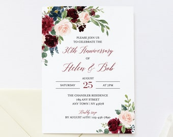 Burgundy Navy Floral Editable Anniversary Party Invitation, Pink 25th 30th 40th 50th Anniversary Invite DIY Template Instant Download 520-B