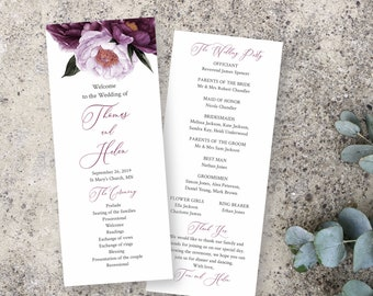 Purple Lavender Floral Editable Program, Plum Lilac Wedding Program, Moody Printable Program, DIY Template, Instant Download, Templett 527-A