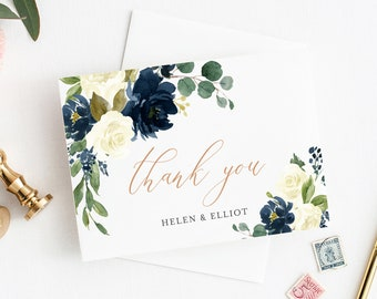 Navy Ivory Rose Gold Printable Thank You Cards, Editable Navy Floral Thank You Cards, DIY Template, Thanks, Instant Download Templett 523-A
