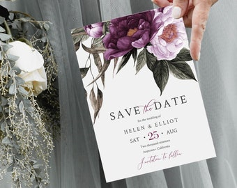 Plum Lavender Floral Editable Save the Date, Purple Printable Save the Date DIY Template, Lilac Greenery Save Date, Instant Download, 527-A