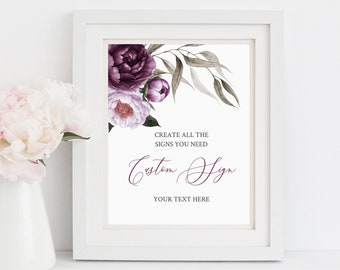 Purple Lilac Floral Editable Custom Wedding Sign, Floral Unlimited Signs, Printable Wedding Shower Decor, Template, Instant Download, 527-A
