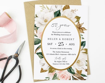 Magnolia Floral Editable Anniversary Party Invitation, White Blush Anniversary Invite, Cotton DIY Template, Instant Download, Templett 524-A