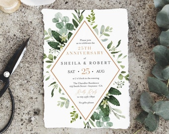 Greenery Rose Gold Editable Anniversary Party Invitation, Botanical Anniversary Invite, 25th 40th 50th DIY Template, Instant Download, 528-A