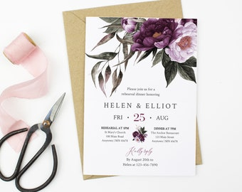 Purple Lavender Floral Editable Rehearsal Dinner Invitation, Plum Lilac Rehearsal Invite DIY Template, Printable, Instant Download, 527-A