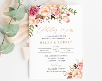Pink Rose Gold Floral Editable Anniversary Party Invitation, Boho 25th 30th 40th 50th Anniversary Invite DIY Template Instant Download 516-A