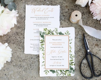 Greenery Rose Gold Editable Bachelorette Party Invitation, Itinerary, Bachelorette Weekend Printable DIY Template Instant Download 528-A