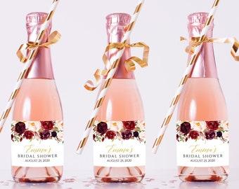 Marsala Gold Editable Mini Champagne Bottle Labels, Burgundy Blush Mini Wine Bottle Label, DIY Template, Printable, Instant Download 512-A