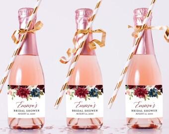 Burgundy Navy Blush Editable Mini Champagne Bottle Labels, Merlot Mini Wine Bottle Label, DIY Template, Printable, Instant Download 520-B