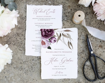 Purple Lavender Floral Editable Bachelorette Party Invitation, Itinerary, Bachelorette Weekend Printable DIY Template Instant Download 527-A