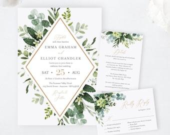 Editable Greenery Rose Gold Wedding Invitation Suite, Botanical Frame, RSVP Details, Foliage Printable Template, Instant Download, 528-A