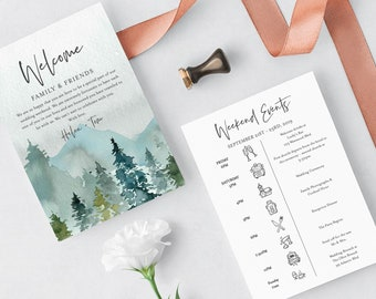 Woodland Mountains Editable Welcome Bag Letter Itinerary, Rustic Wedding Timeline, Printable Order of Events Template Instant Download 531-A