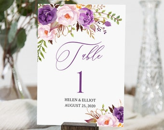 Purple Boho Editable Table Numbers, Printable Purple Lilac Floral Table Numbers, Table Number DIY Template, Instant Download, Templett 530-A