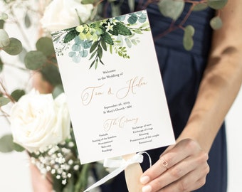Greenery Rose Gold Editable Fan Program, Botanical Wedding Program, Foliage Printable Fan Program, DIY Template, Instant Download 528-A