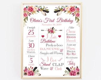 Pink Feathers First Birthday Milestone Editable Poster, Floral Milestone Printable Template, Arrow Boho Milestone, Instant Download 309-W