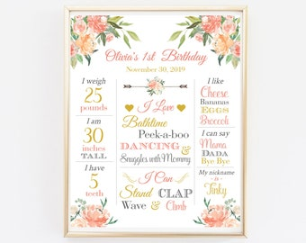 Coral Peach Gold Boho First Birthday Editable Milestone Poster, Floral Milestone Printable Template, Blush Pink Girl, Instant Download 501-A