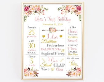 Pink Gold Boho First Birthday Editable Milestone Poster, Floral Milestone Printable Template, Boho Personalized Sign Instant Download 308-PG