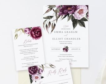 Editable Purple Floral Wedding Invitation Suite, Plum Lavender Floral RSVP Details, Lilac Printable Template Instant Download Templett 527-A