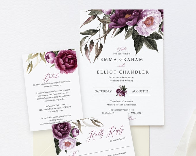 Featured listing image: Editable Purple Floral Wedding Invitation Suite, Plum Lavender Floral RSVP Details, Lilac Printable Template Instant Download Templett 527-A