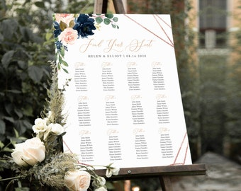 Navy Rose Gold Geometric Editable Table Plan, Pink Floral Printable Seating Chart, 18 x 24 24 x 36, A1 A2, Template, Instant Download, 529-A