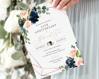 Blush Navy Rose Gold Floral Editable Anniversary Party Invitation, Geometric Anniversary Invite, Template, Instant Download, Templett 529-A