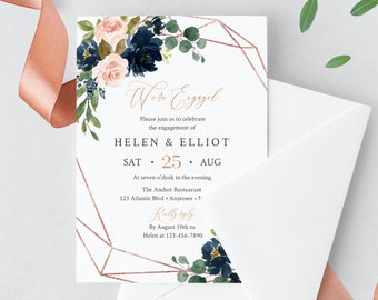 Navy Blush Rose Gold Geometric Editable Engagement Party Invitation, Pink Engagement Invite DIY Template, Instant Download, Templett, 529-A