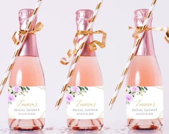 Purple Gold Geometric Editable Mini Champagne Bottle Labels, Mini Wine Bottle Label, DIY Template, Printable, Instant Download 511-A