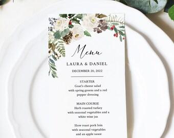 Editable White Rustic Winter Menu, Evergreen Pine Wedding Menu, Printable Christmas Menu DIY Template, Templett Instant Download 569-A