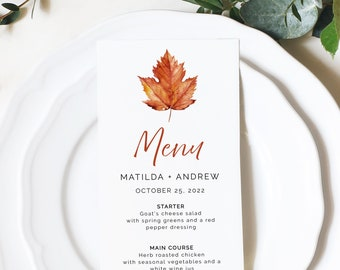 Editable Maple Leaf Menu, Minimalist Burnt Orange Table Wedding Menu, Fall Modern Printable Template, Autumn Templett Instant Download 567-A