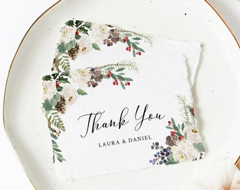 Printable Winter Rustic Thank You Cards, White Floral Editable Thank You Cards, DIY Template, Evergreen Pine Instant Download Templett 569-A