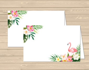 Flamingo Tropical Printable Food Tent Cards Place Cards, Flamingo Floral Buffet Place Cards, DIY Food Table Signs, Instant Download 330-W