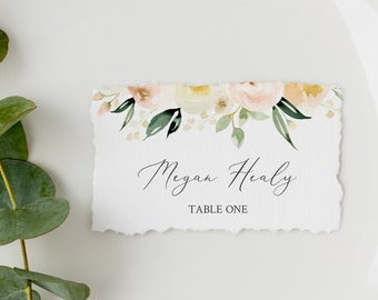 Greenery Ivory Blush Floral Editable Place Cards, Soft Pink Escort Cards, Name Cards, DIY Template, Instant Download, Templett, 536-A