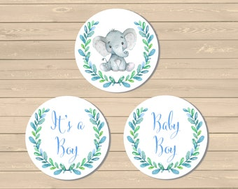 Blue Elephant It's a Boy Baby Shower Cupcake Toppers, Printable Baby Boy Elephant Buffet Cake Decor, Blue Elephant, Instant Download 305-B