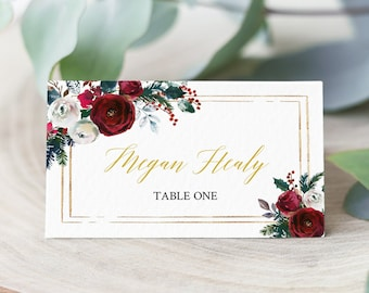 Winter Escort Cards, Green Gold Cranberry Floral Editable Place Cards, Christmas Name Cards, DIY Template, Instant Download, Templett, 543-A