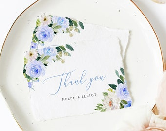 Editable Blue Floral Thank You Cards, Printable Blue Greenery Thank You Card Template, Blue Boho Thank You, Instant Download Templett 547-A