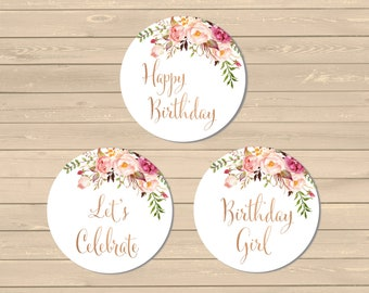 Printable Rose Gold Boho Cupcake Toppers, Boho Birthday Party Decor, Rose Gold Buffet Decor, Floral Cupcake Toppers, Instant Download 308-RG