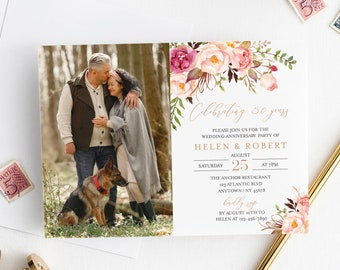 Editable Photo Anniversary Party Invitation, Rose Gold Pink Floral Boho 25th 30th 40th 50th Anniversary DIY Template Instant Download 516-A