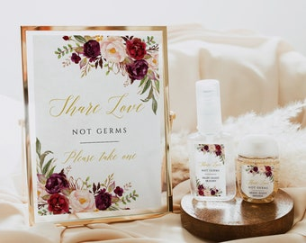 Editable Marsala Blush Gold Floral Hand Sanitizer Labels and Sign, COVID Label Template, Burgundy DIY Sanitizer Label Instant Download 512-A