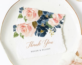 Editable Rose Gold Blush Navy Floral Thank You Cards, Printable Pink Blue Thanks, Template, Boho, Instant Download Templett 542-A