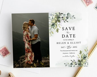 Editable Greenery Watercolor Photo Save the Date, Printable Save the Date DIY Template, Botanical Foliage Photo Card, Instant Download 549-A