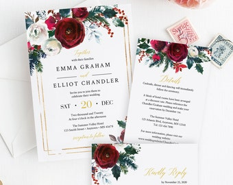 Christmas Floral Editable Wedding Invitation Suite, Cranberry RSVP Details, Printable Template, Winter Holly Instant Download Templett 543-A