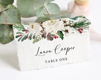 Editable Winter White Place Cards, Rustic Escort Cards, Evergreen Pine Berries Name Cards, DIY Template, Instant Download, Templett, 569-A