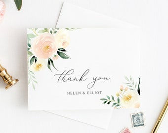 Printable Thank You Cards, Ivory Blush Greenery Floral Editable DIY Template, Pink Thanks, Instant Download Templett 536-A