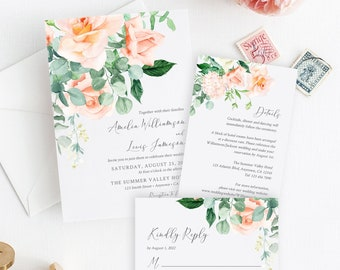 Editable Peach Greenery Floral Wedding Invitation Suite, Peach Eucalyptus RSVP Details, Peach Printable Template, Instant Download, 551-A