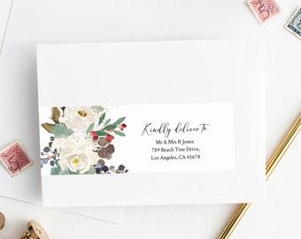 Editable Winter Rustic Wrap Around Address Label Template, White Printable Envelope Address Label, Pine DIY Addresses Instant Download 569-A